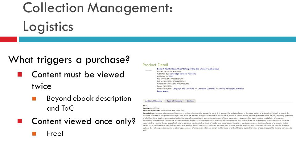 What triggers a purchase? Content must be viewed twice Beyond ebook description and ToC Content viewed once only? Free!