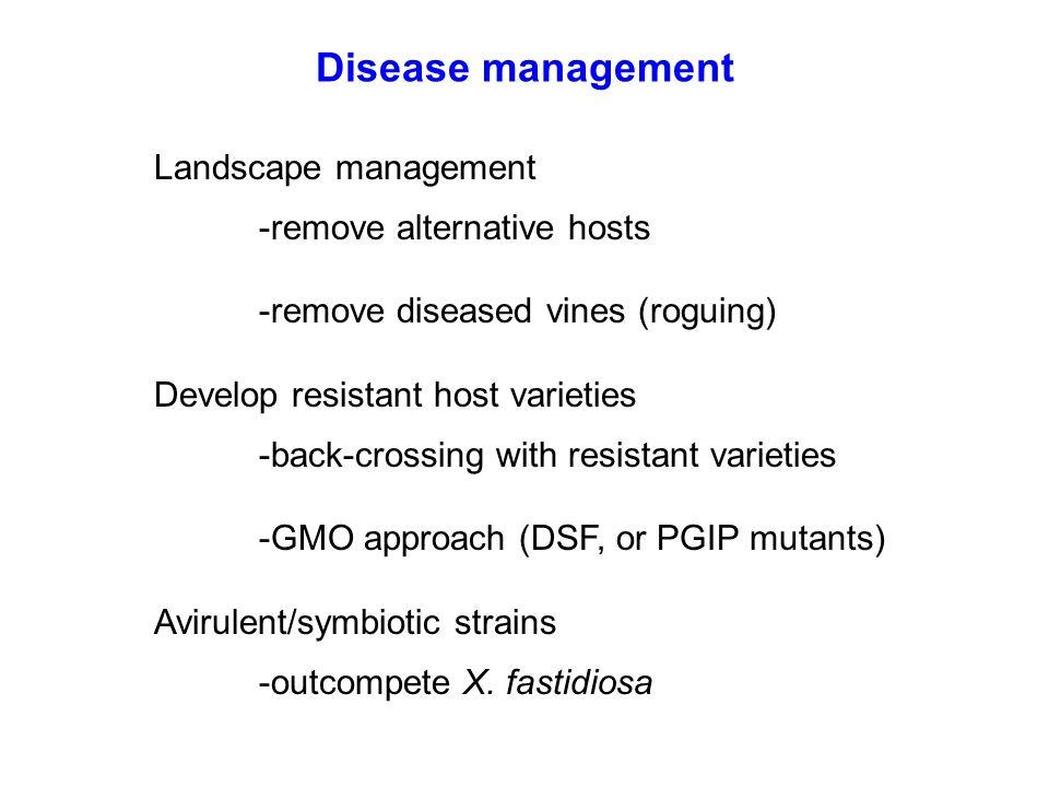 Landscape management -remove alternative hosts -remove diseased vines (roguing) Develop resistant host varieties -back-crossing with resistant varieti