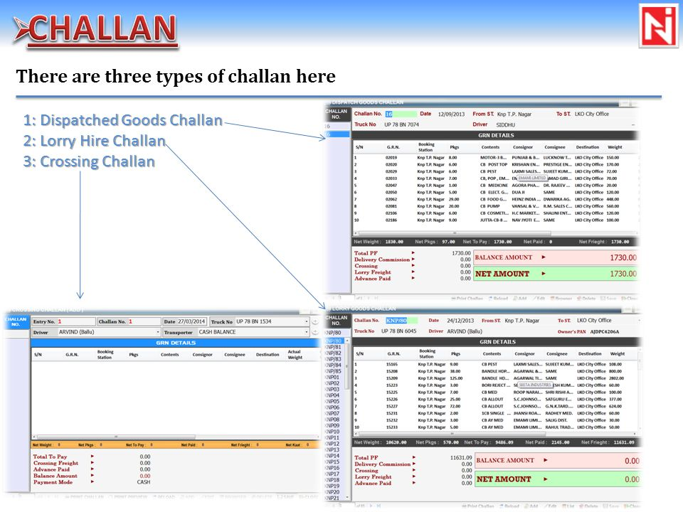 There are three types of challan here 1: Dispatched Goods Challan 2: Lorry Hire Challan 3: Crossing Challan