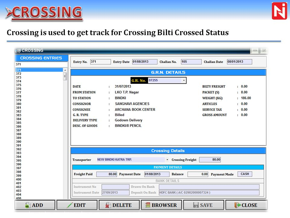 Crossing is used to get track for Crossing Bilti Crossed Status