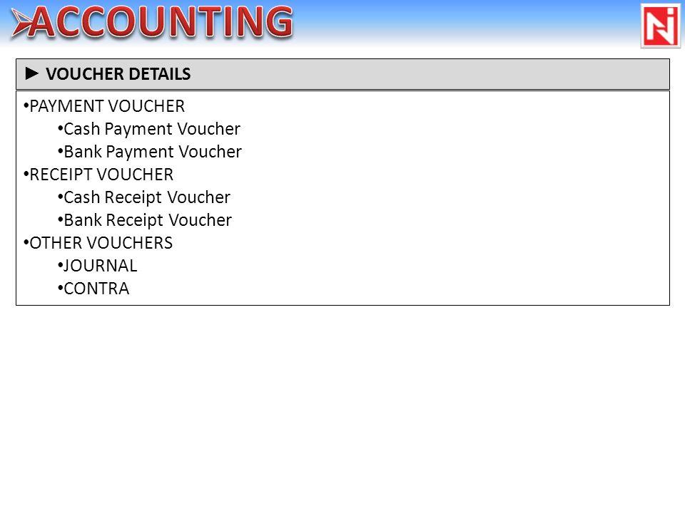 PAYMENT VOUCHER Cash Payment Voucher Bank Payment Voucher RECEIPT VOUCHER Cash Receipt Voucher Bank Receipt Voucher OTHER VOUCHERS JOURNAL CONTRA VOUC