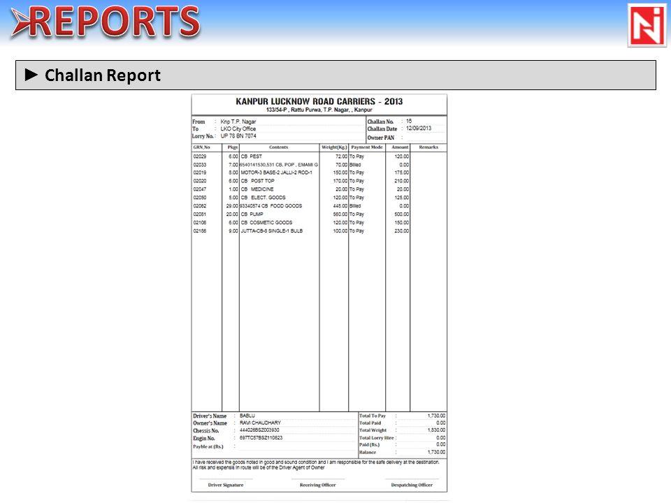 Challan Report