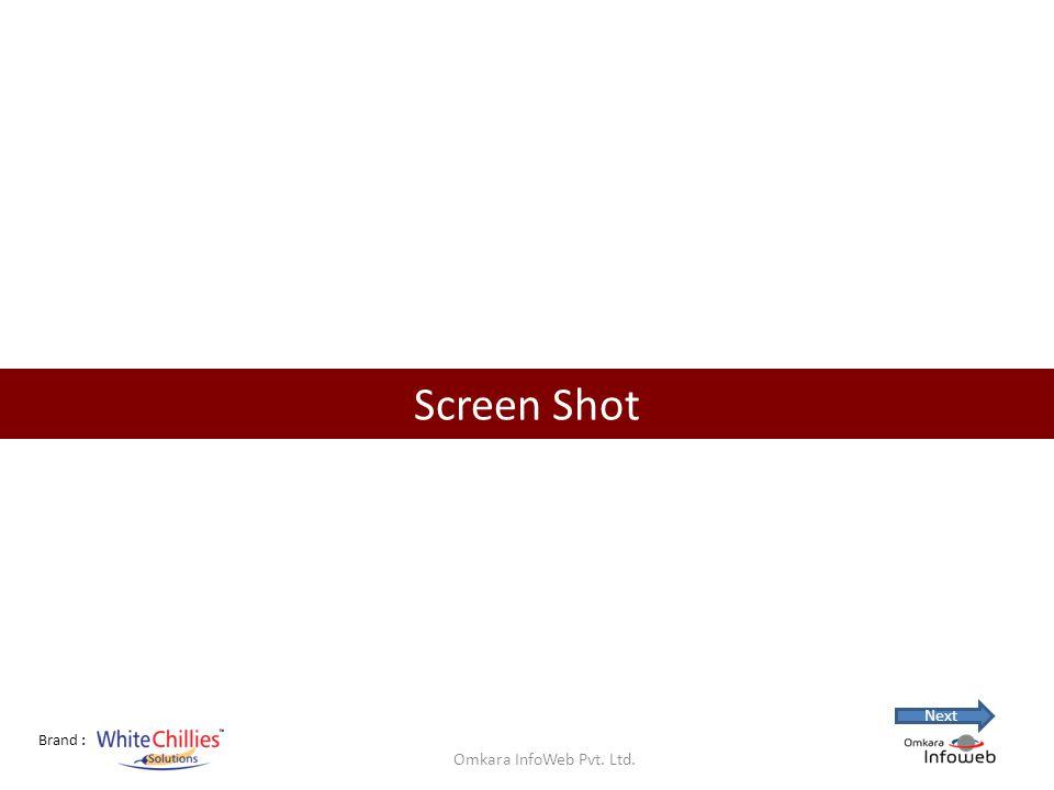 Brand : Screen Shot Omkara InfoWeb Pvt. Ltd. Next
