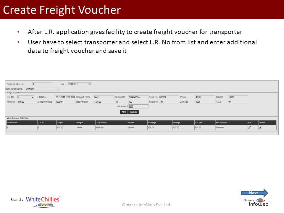 Brand : Create Freight Voucher After L.R.