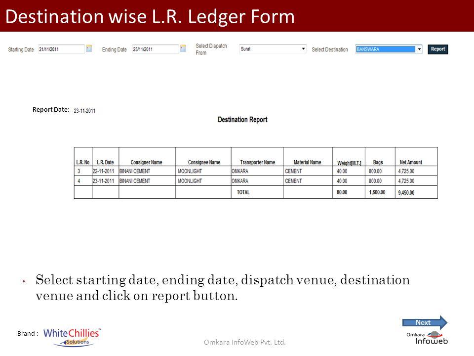 Brand : Destination wise L.R.