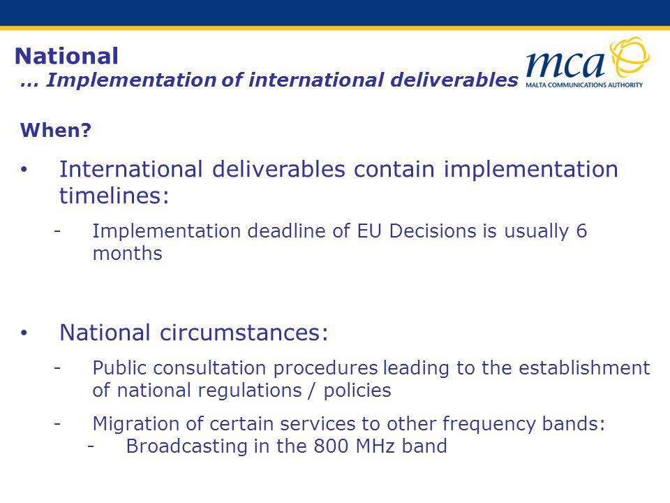 National … Implementation of international deliverables When.