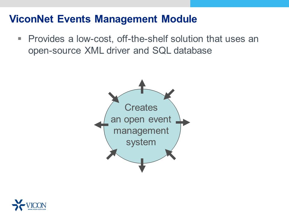 ViconNet Events Management Module Creates an open event management system Provides a low-cost, off-the-shelf solution that uses an open-source XML driver and SQL database