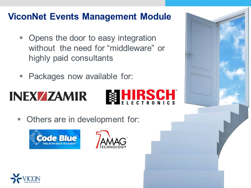 ViconNet Events Management Module Opens the door to easy integration without the need for middleware or highly paid consultants Packages now available for: Others are in development for: