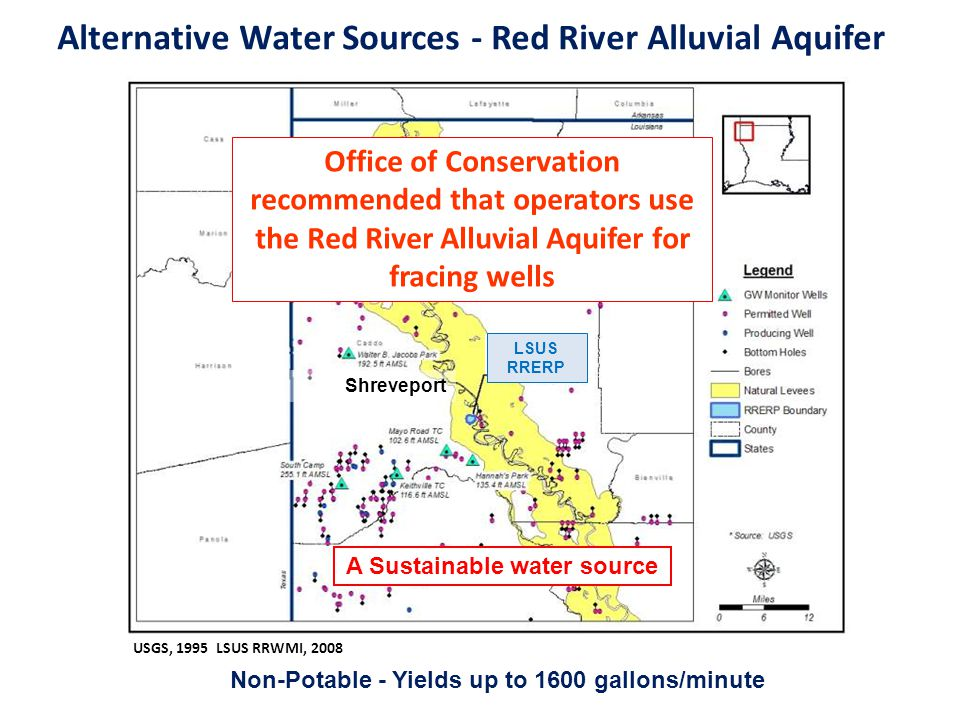 Alternative Water Sources - Red River Alluvial Aquifer USGS, 1995 LSUS RRWMI, 2008 Non-Potable - Yields up to 1600 gallons/minute LSUS RRERP Shrevepor