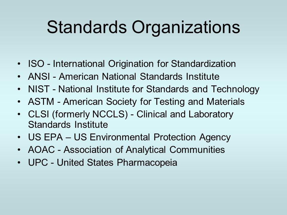 Standards Organizations ISO - International Origination for Standardization ANSI - American National Standards Institute NIST - National Institute for