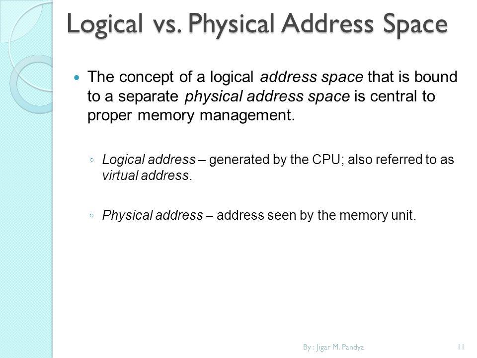 11By : Jigar M. Pandya Logical vs. Physical Address Space The concept of a logical address space that is bound to a separate physical address space is