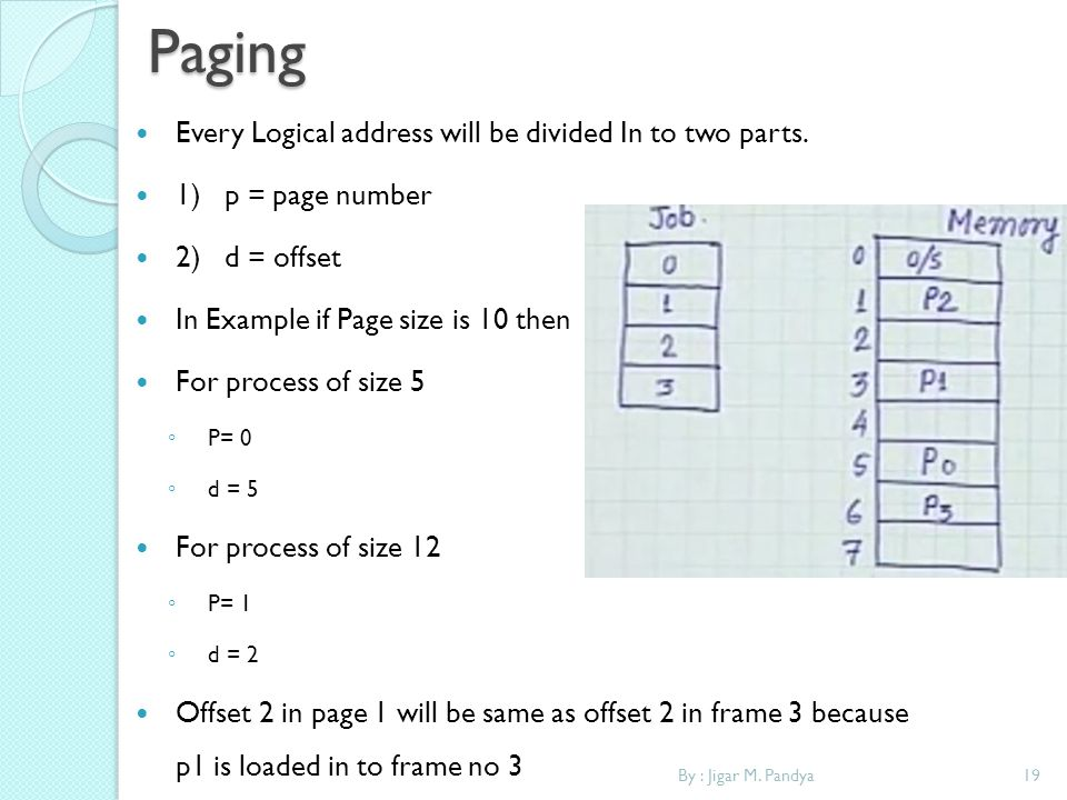 19By : Jigar M. PandyaPaging Every Logical address will be divided In to two parts. 1) p = page number 2) d = offset In Example if Page size is 10 the