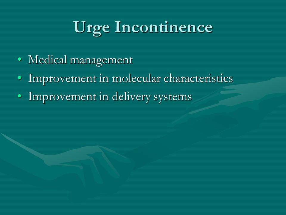Urge Incontinence Medical managementMedical management Improvement in molecular characteristicsImprovement in molecular characteristics Improvement in