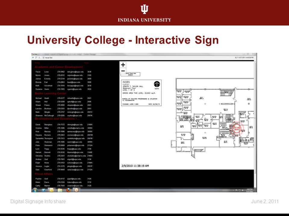 University College - Interactive Sign June 2, 2011Digital Signage Info share
