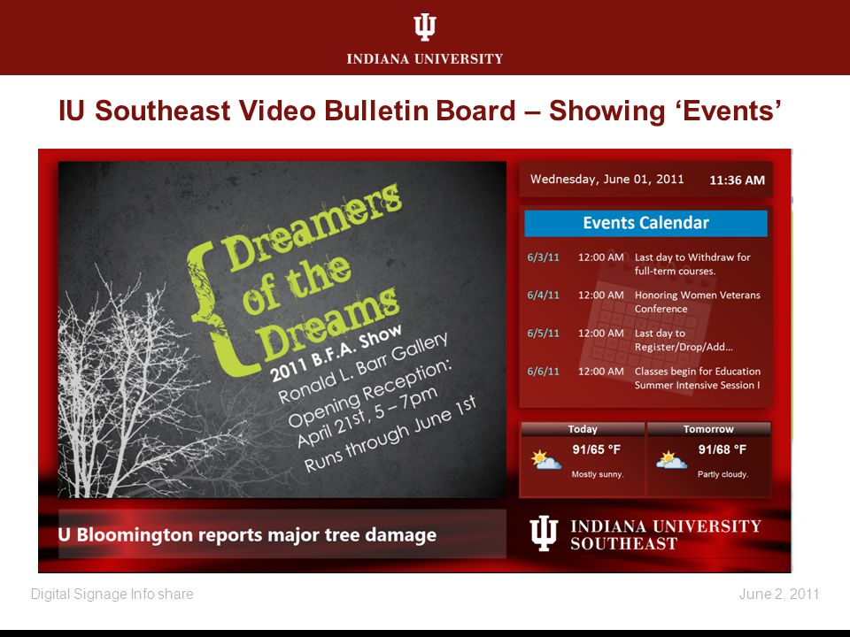 IU Southeast Video Bulletin Board – Showing Events June 2, 2011Digital Signage Info share