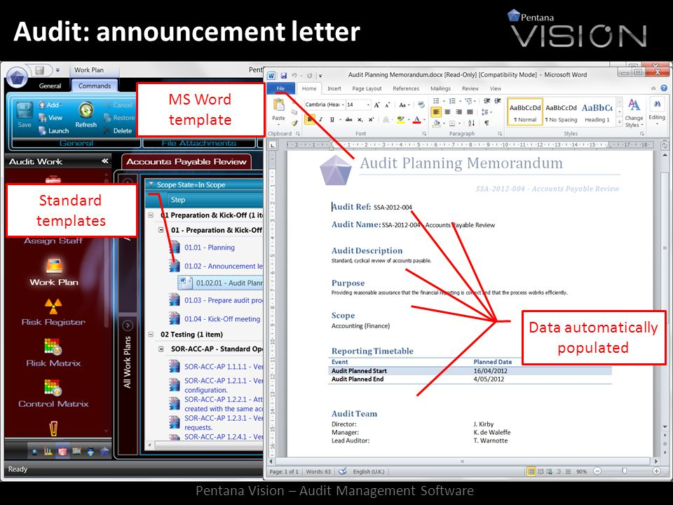 Audit: announcement letter Standard templates MS Word template Data automatically populated Pentana Vision – Audit Management Software