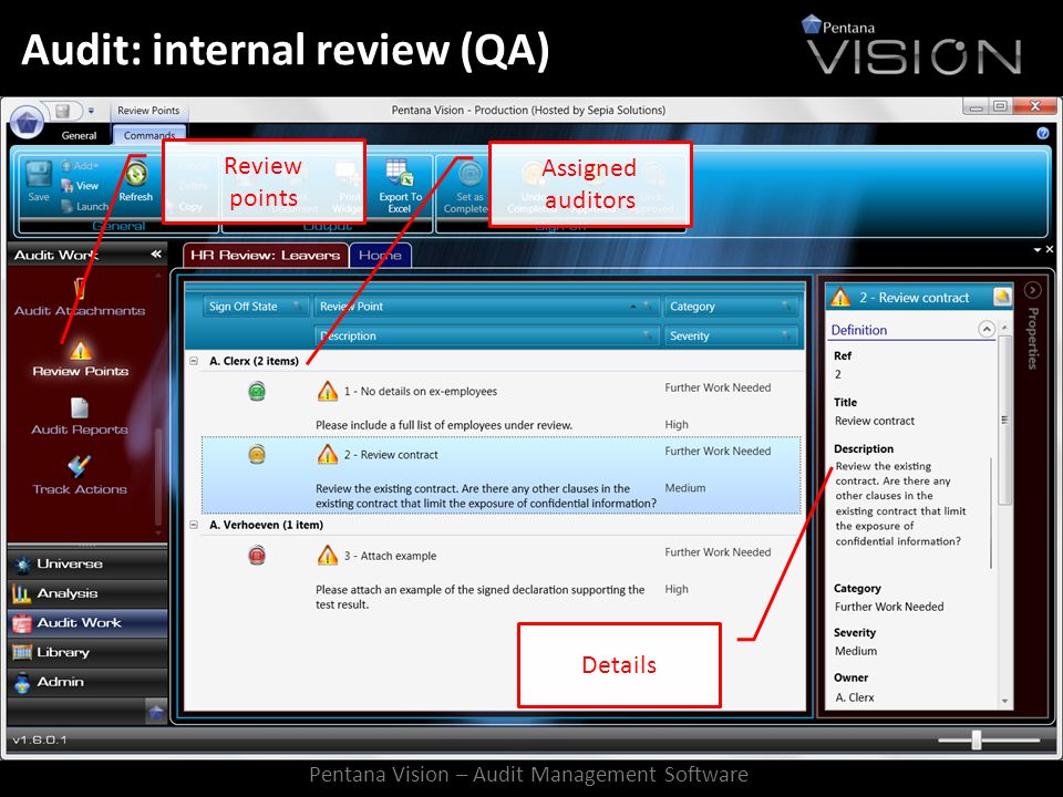 Audit: internal review (QA) Review points Assigned auditors Details Pentana Vision – Audit Management Software