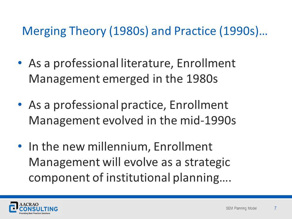 SEM Planning Model 58 …to a fully integrated Strategic Enrollment Management perspective.