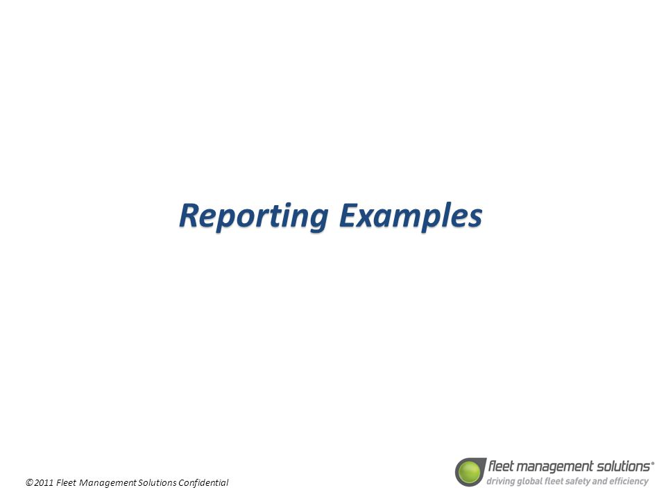 ©2011 Fleet Management Solutions Confidential ReportingExamples Reporting Examples