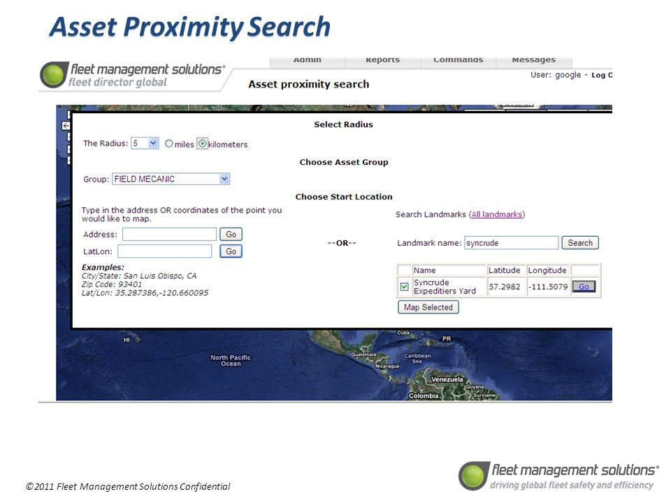 ©2011 Fleet Management Solutions Confidential Asset Proximity Search