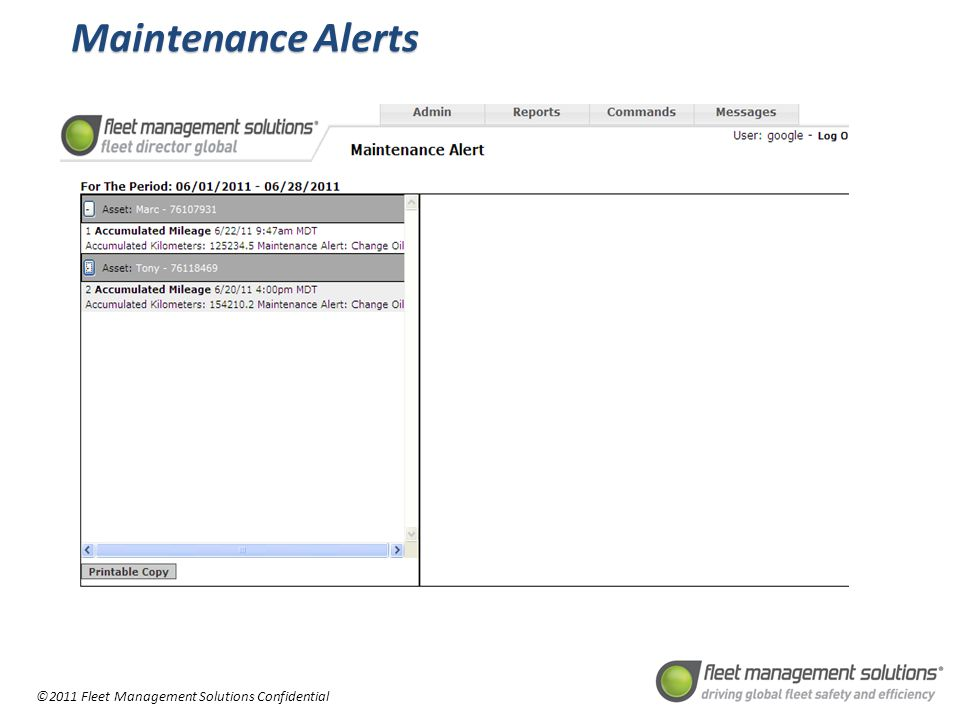 ©2011 Fleet Management Solutions Confidential Maintenance Alerts