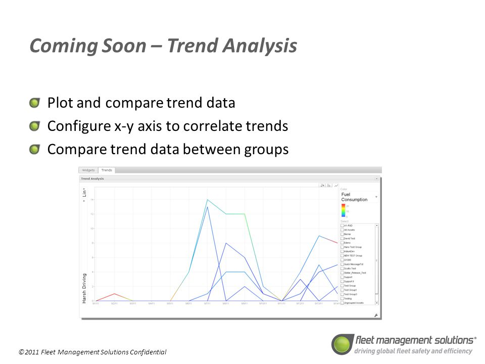 ©2011 Fleet Management Solutions Confidential Coming Soon – Trend Analysis Plot and compare trend data Configure x-y axis to correlate trends Compare trend data between groups