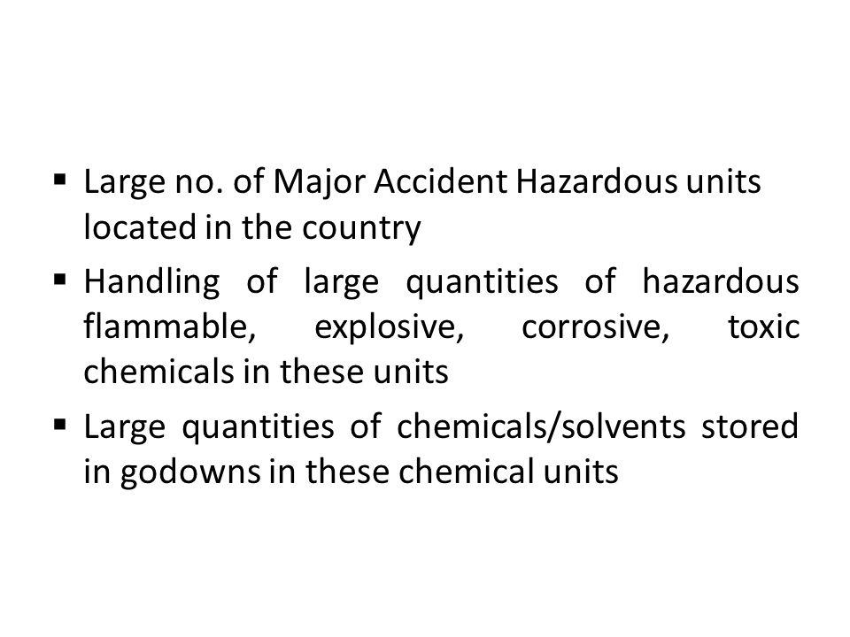 Large no. of Major Accident Hazardous units located in the country Handling of large quantities of hazardous flammable, explosive, corrosive, toxic ch