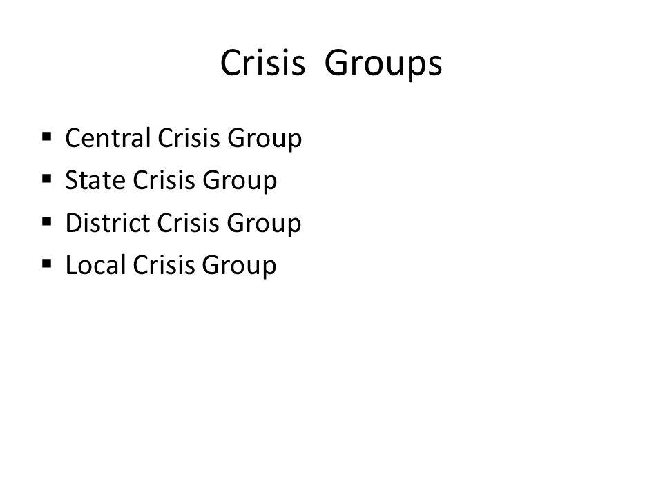 Crisis Groups Central Crisis Group State Crisis Group District Crisis Group Local Crisis Group
