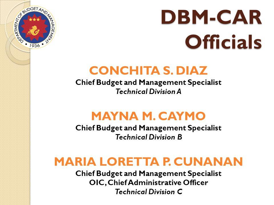 DBM-CAR Officials CONCHITA S.