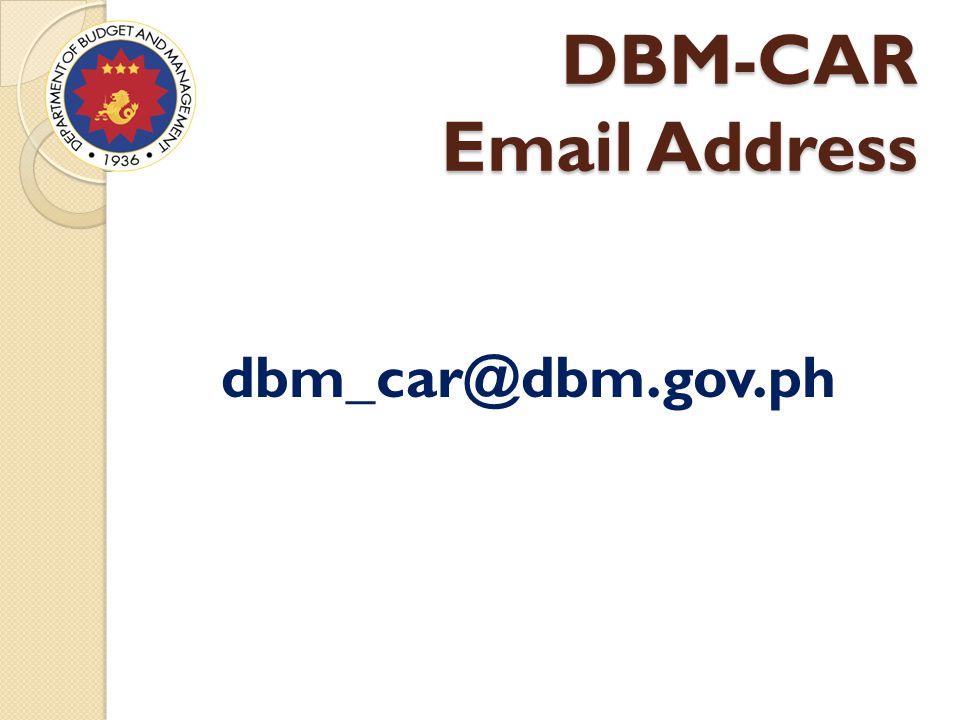 DBM-CAR Email Address dbm_car@dbm.gov.ph