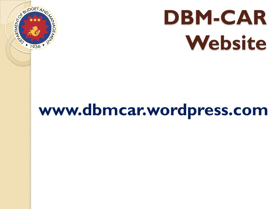 DBM-CAR Website www.dbmcar.wordpress.com