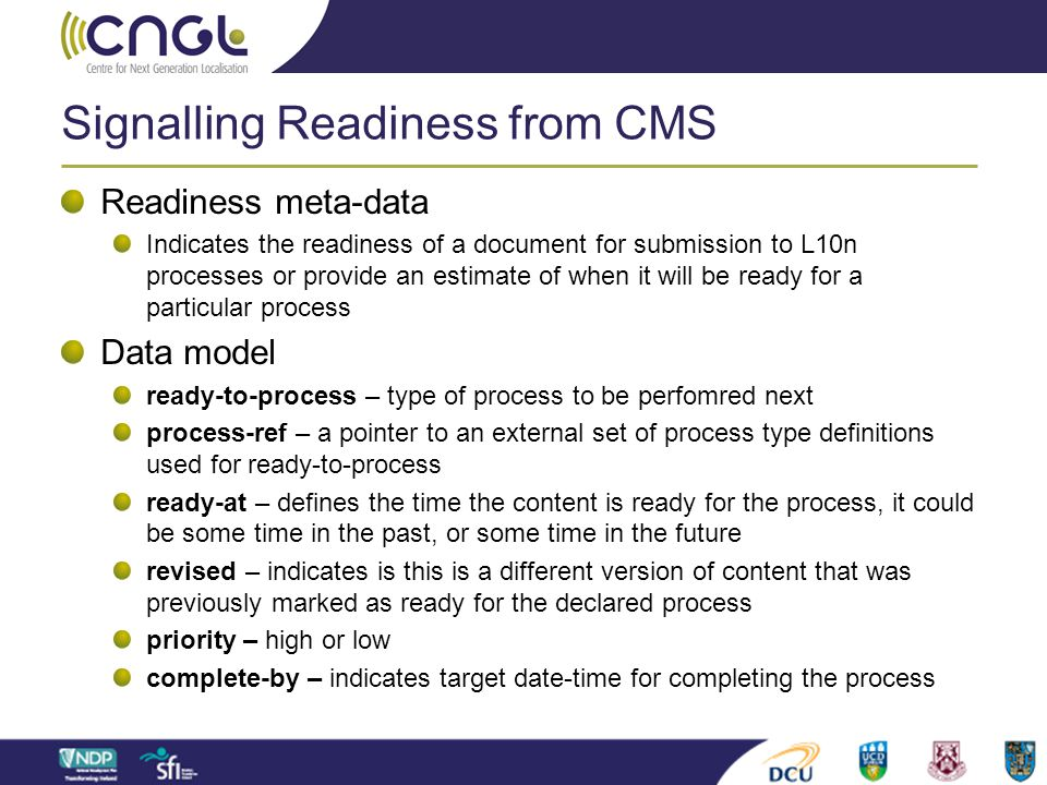 Signalling Readiness from CMS Readiness meta-data Indicates the readiness of a document for submission to L10n processes or provide an estimate of whe