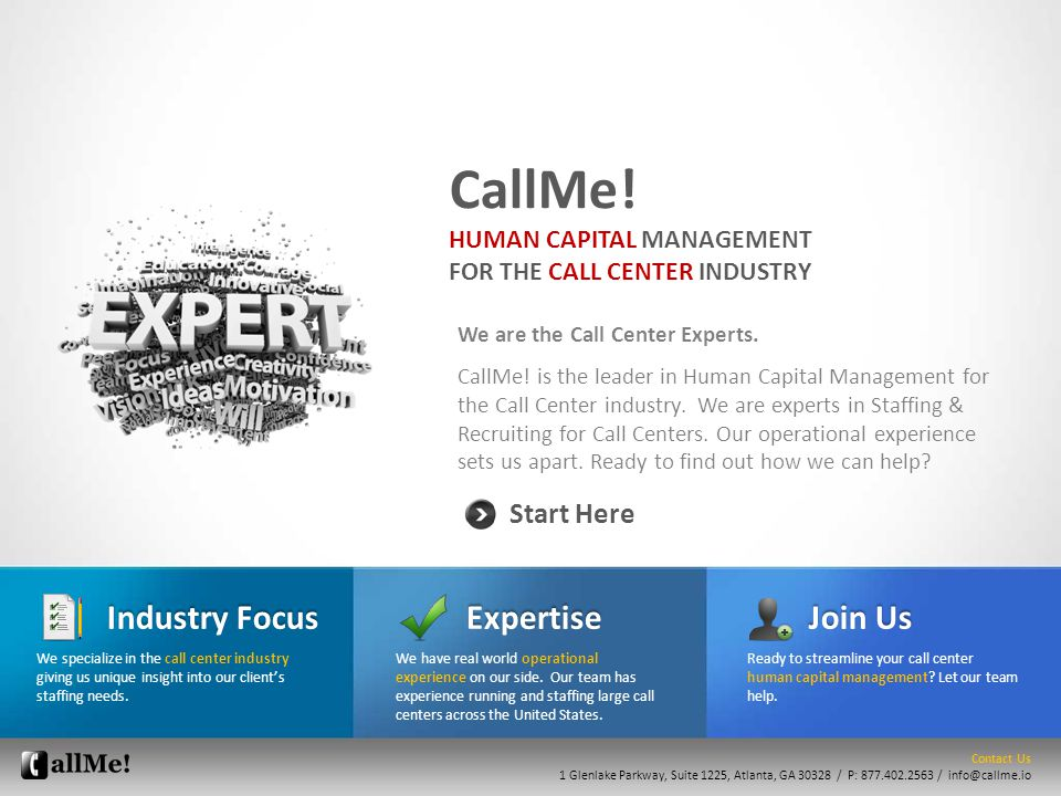 We are the Call Center Experts.CallMe.