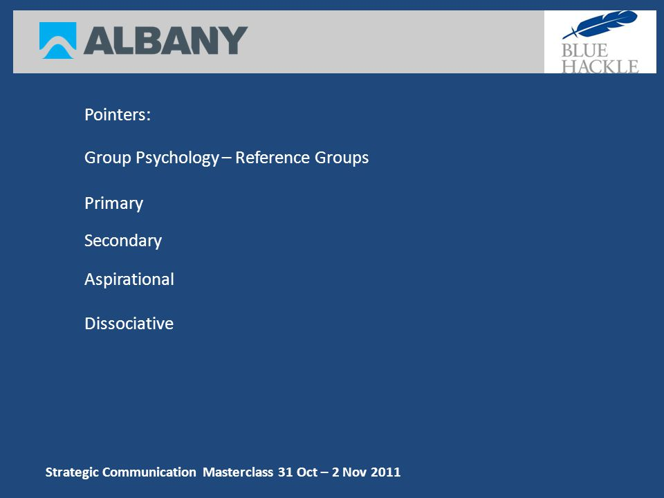 Pointers: Group Psychology – Reference Groups Aspirational Dissociative Secondary Primary Strategic Communication Masterclass 31 Oct – 2 Nov 2011