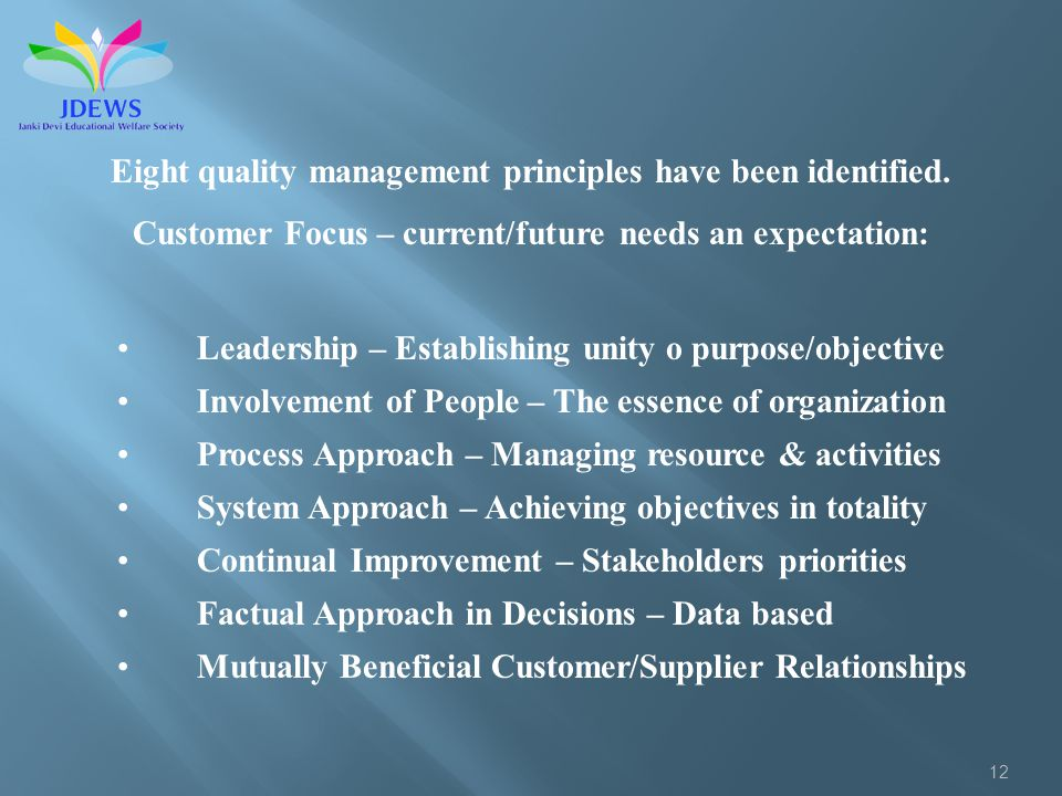 12 Eight quality management principles have been identified.