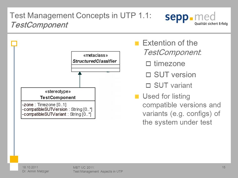 18.10.2011 Dr. Armin Metzger MBT UC 2011: Test Management Aspects in UTP Test Management Concepts in UTP 1.1: TestComponent 15 Extention of the TestCo