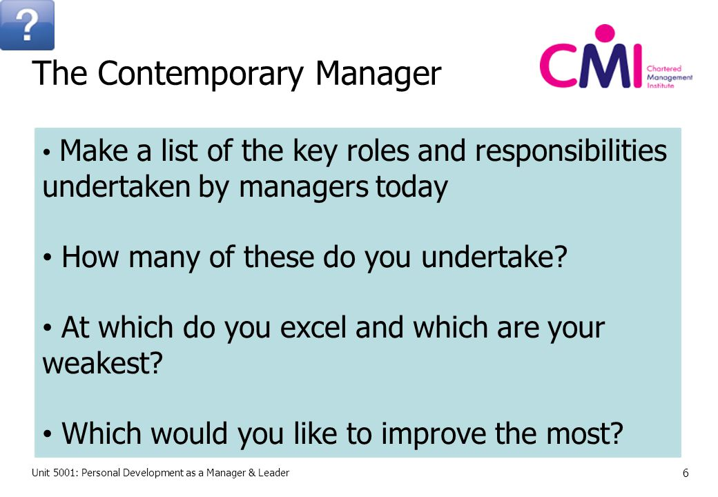 Unit 5001: Personal Development as a Manager & Leader 7 The Contemporary Manager
