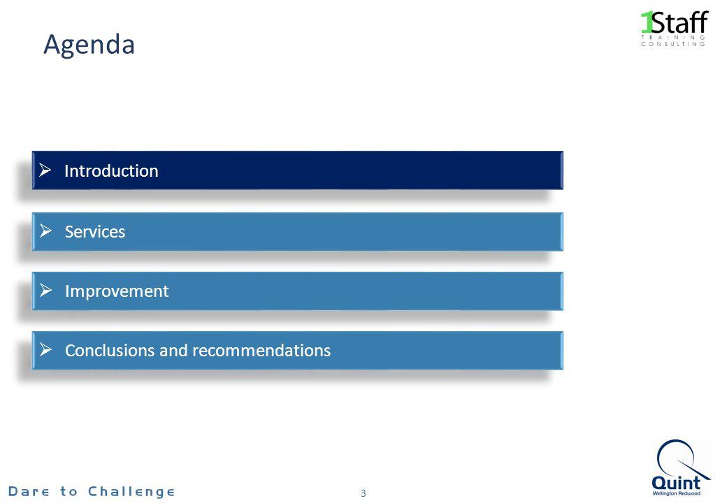 Agenda 3 Conclusions and recommendations Improvement Services Introduction