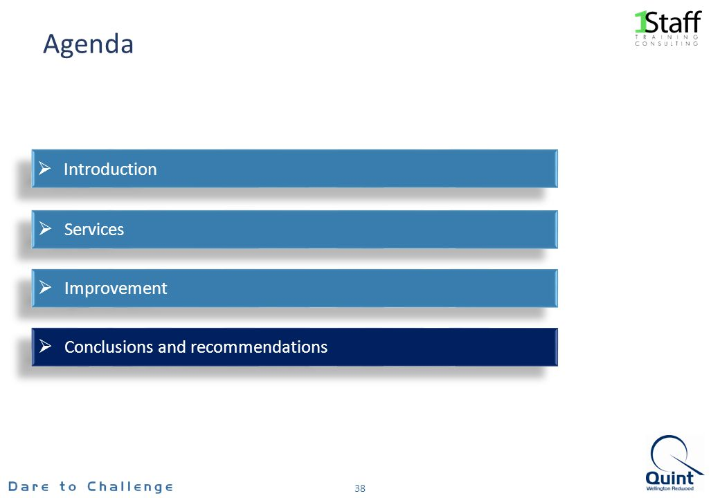 Agenda 38 Conclusions and recommendations Improvement Services Introduction