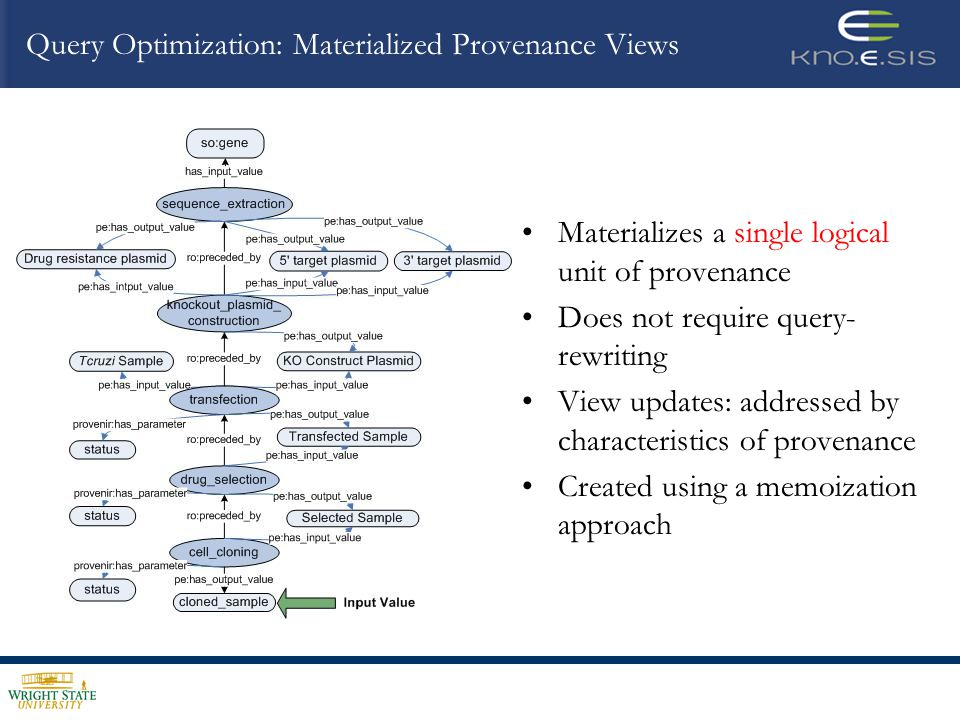 Materializes a single logical unit of provenance Does not require query- rewriting View updates: addressed by characteristics of provenance Created using a memoization approach
