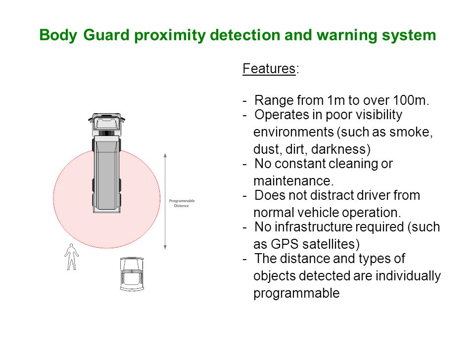 Body Guard proximity detection and warning system Features: - Range from 1m to over 100m.
