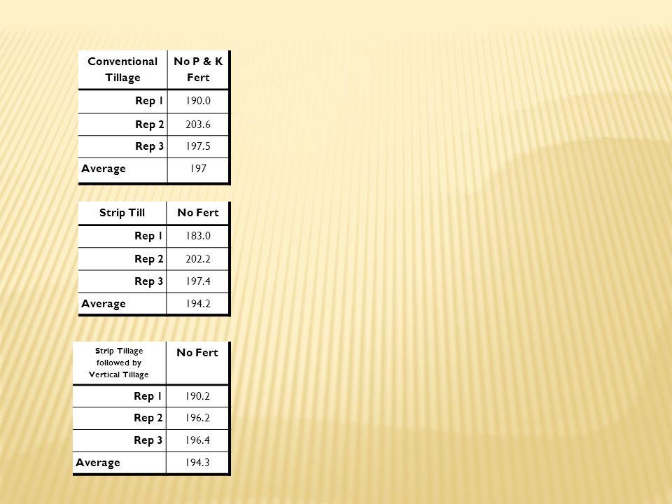Conventional Tillage No P & K Fert Rep 1190.0 Rep 2203.6 Rep 3197.5 Average197 Strip TillNo Fert Rep 1183.0 Rep 2202.2 Rep 3197.4 Average194.2 Strip T