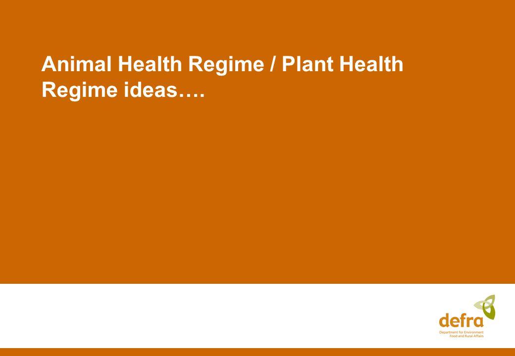 Animal Health Regime / Plant Health Regime ideas….