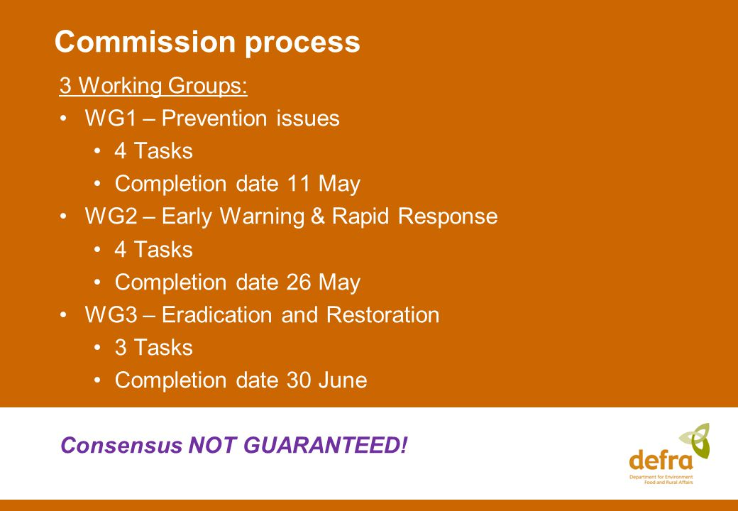 Commission process 3 Working Groups: WG1 – Prevention issues 4 Tasks Completion date 11 May WG2 – Early Warning & Rapid Response 4 Tasks Completion date 26 May WG3 – Eradication and Restoration 3 Tasks Completion date 30 June Consensus NOT GUARANTEED!