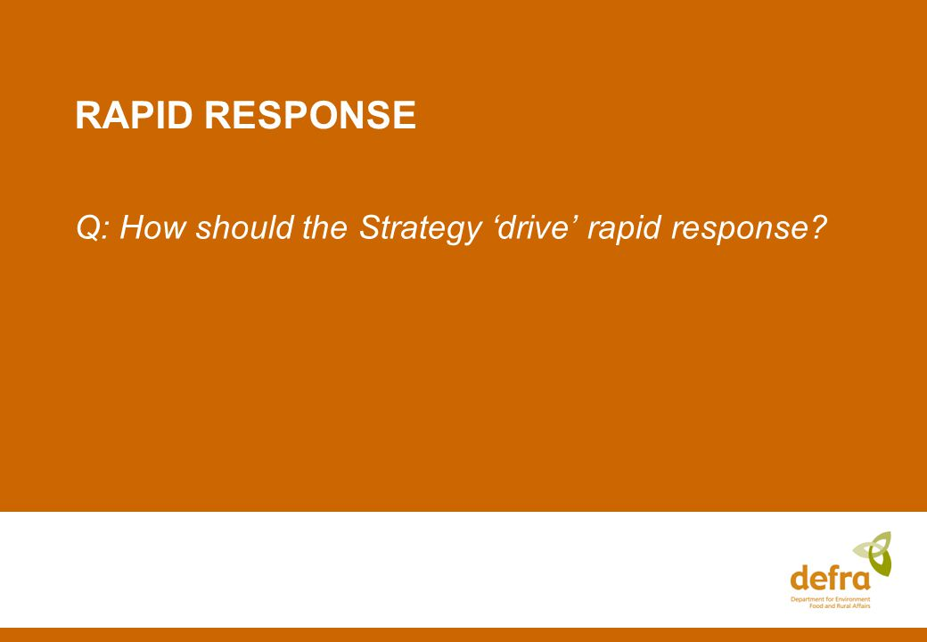 RAPID RESPONSE Q: How should the Strategy drive rapid response