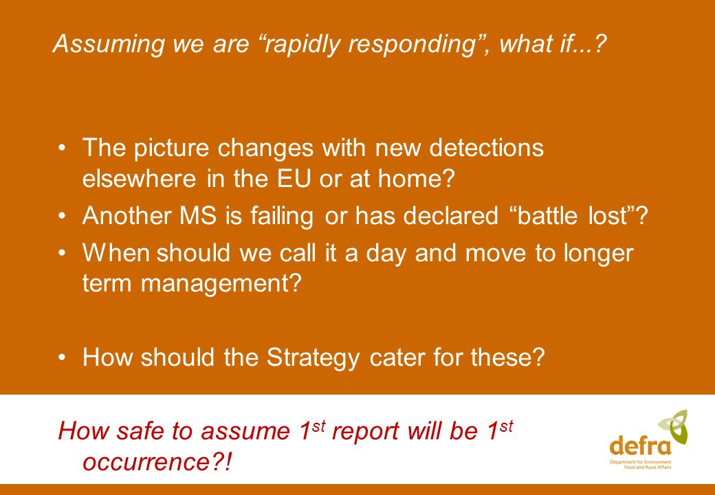 Assuming we are rapidly responding, what if....