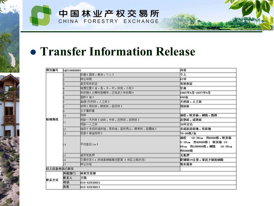 Transfer Information Release