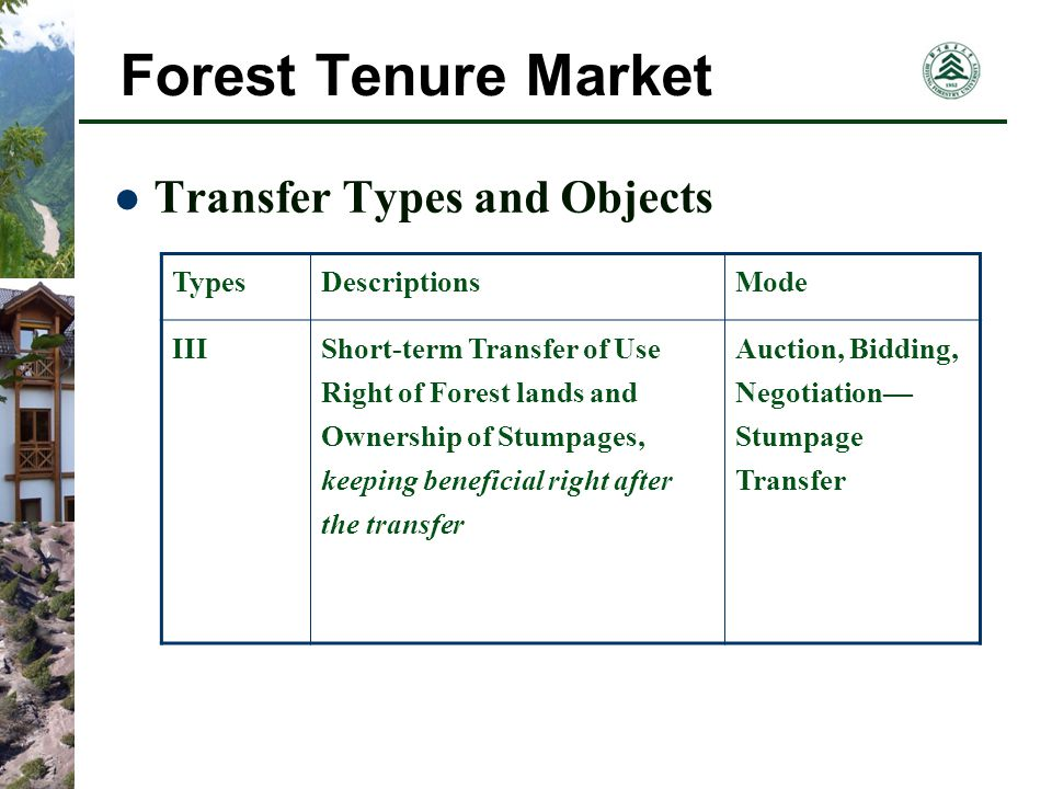 Forest Tenure Market Transfer Types and Objects TypesDescriptionsMode IIIShort-term Transfer of Use Right of Forest lands and Ownership of Stumpages, keeping beneficial right after the transfer Auction, Bidding, Negotiation Stumpage Transfer