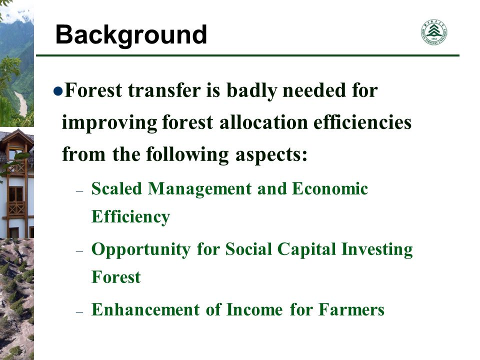 Forest Tenure Market Comparative Analysis on these two Transfer Item The Informal Transfer The Formal Transfer Time Needed No more than 10 daysIn about 45 working days Transaction CostNearly equal to zero Fee for transaction, valuation, accommodation RevenueLess for Lower PriceMore for Higher Price Guarantee to the Stakeholder PartiallyCompletely Applicability Small Scaled Manager Middle and Large Scaled Manager Service Gained NoneForest Insurance, Loan