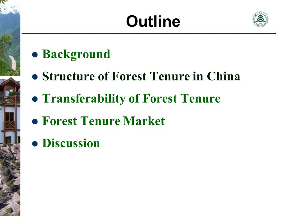 Forest Tenure Market Transfer Types and Subjects Transfer by Nego- tiation and other ways Transfer by Auction or Bidding Distri- bued to each HH Collec- tive Forest Held by the collec- tive Other Subjects The Collective being the subject to manage the forest lands The Farmers being the subject of ownership of stumpages use right of land B C A